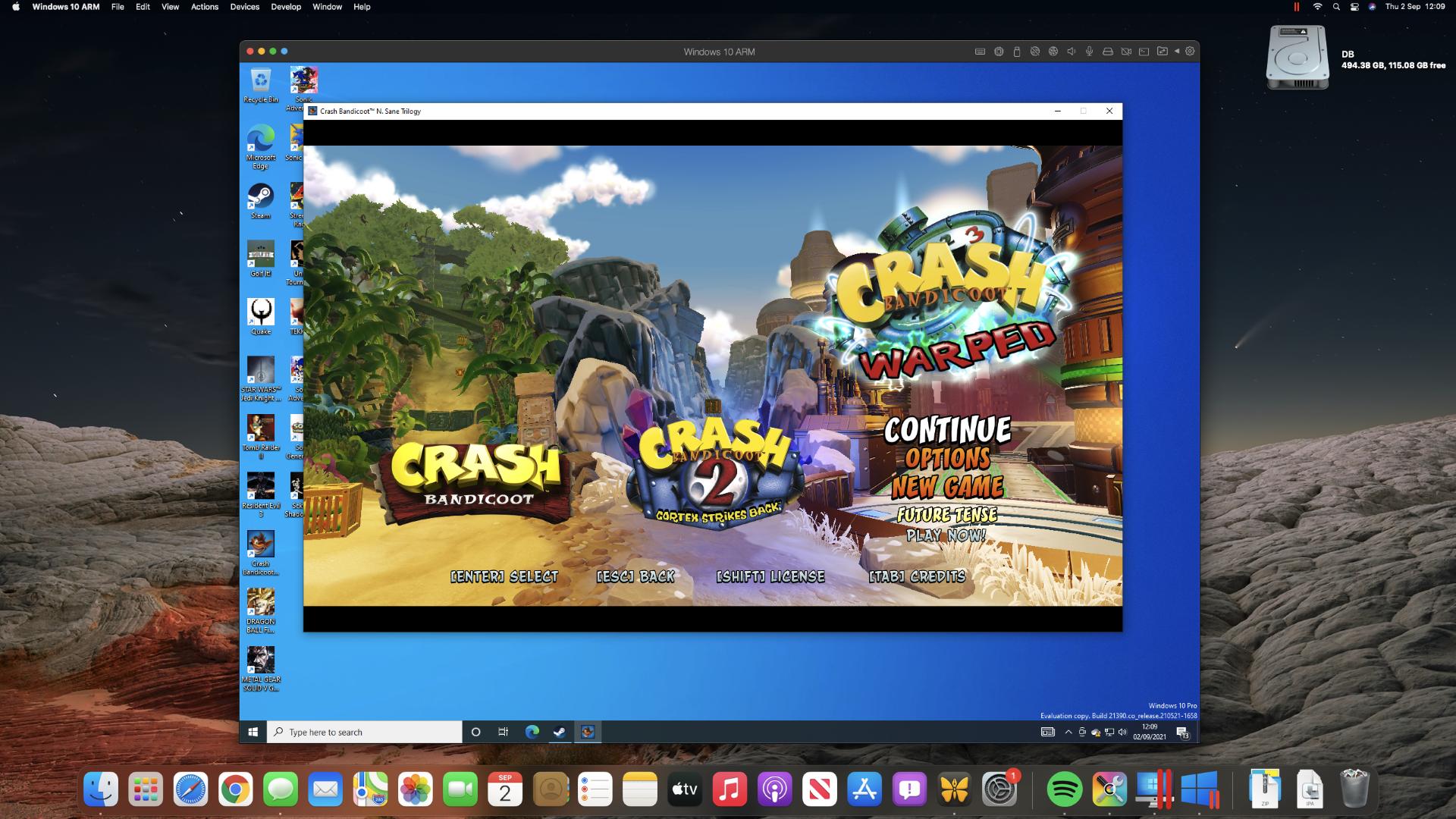 Crash Bandicoot: N. Sane Trilogy on an M1 Mac mini through Steam