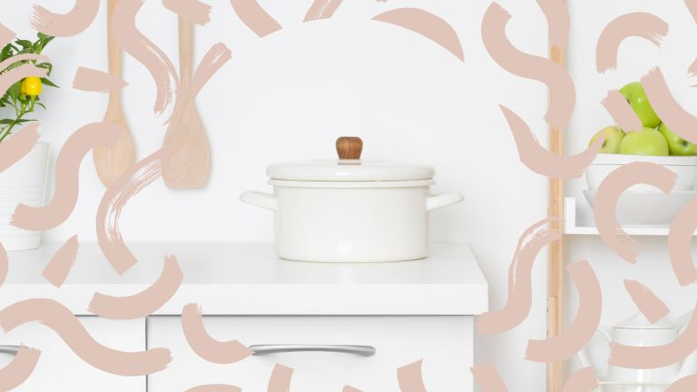a white pan on a white worktop surrounded by beige swirls, to convey w&h's pan storage ideas