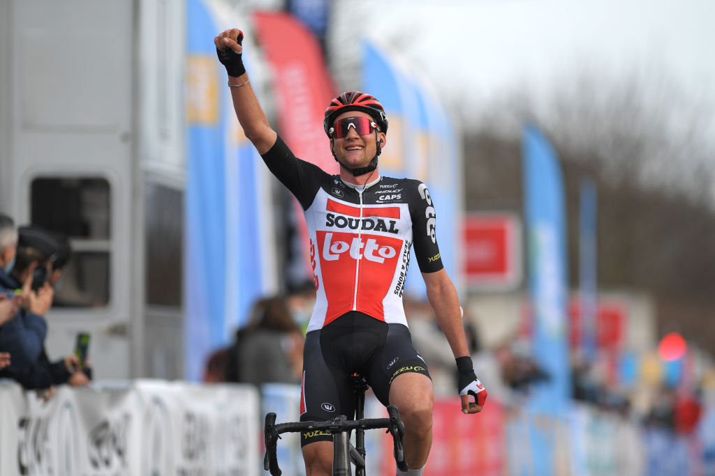 BESSGES FRANCE FEBRUARY 05 Arrival Tim Wellens of Belgium and Team Lotto Soudal Celebration during the 51st toile de Bessges Tour du Gard 2021 Stage 3 a 1548km stage from Bessges to Bessges EDB2020 on February 05 2021 in Bessges France Photo by Luc ClaessenGetty Images