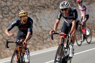 Fabio Aru jokes with Richard Carapaz during stage 7 of the 2021 Vuelta a España