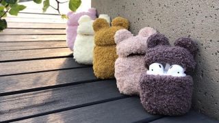 Fun AirPods cases: selection of knitted Teddy Bear style cases