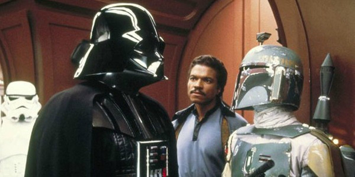 Darth Vader, Boba Fett, and Lando Calrissian in Star Wars: The Empire Strikes Back