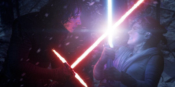Kylo Ren and Rey lightsaber fighting in The Force Awakens