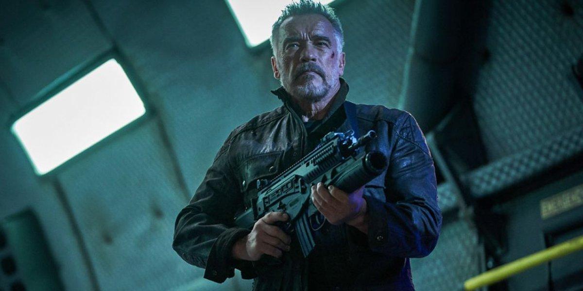 Carl aiming a gun in Terminator: Dark Fate