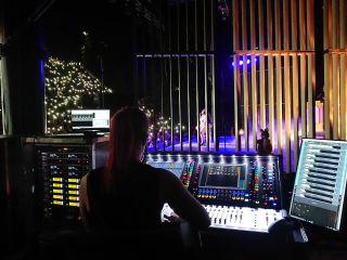 Loreen Bohannon mixing monitors for Lizzo on Clair's DiGiCo SD12 96 desk