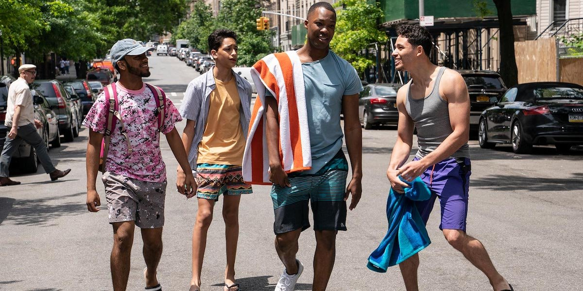 Corey Hawkins, Anthony Ramos, and Gregory Diaz IV in In the Heights (2021) during 96,000 song