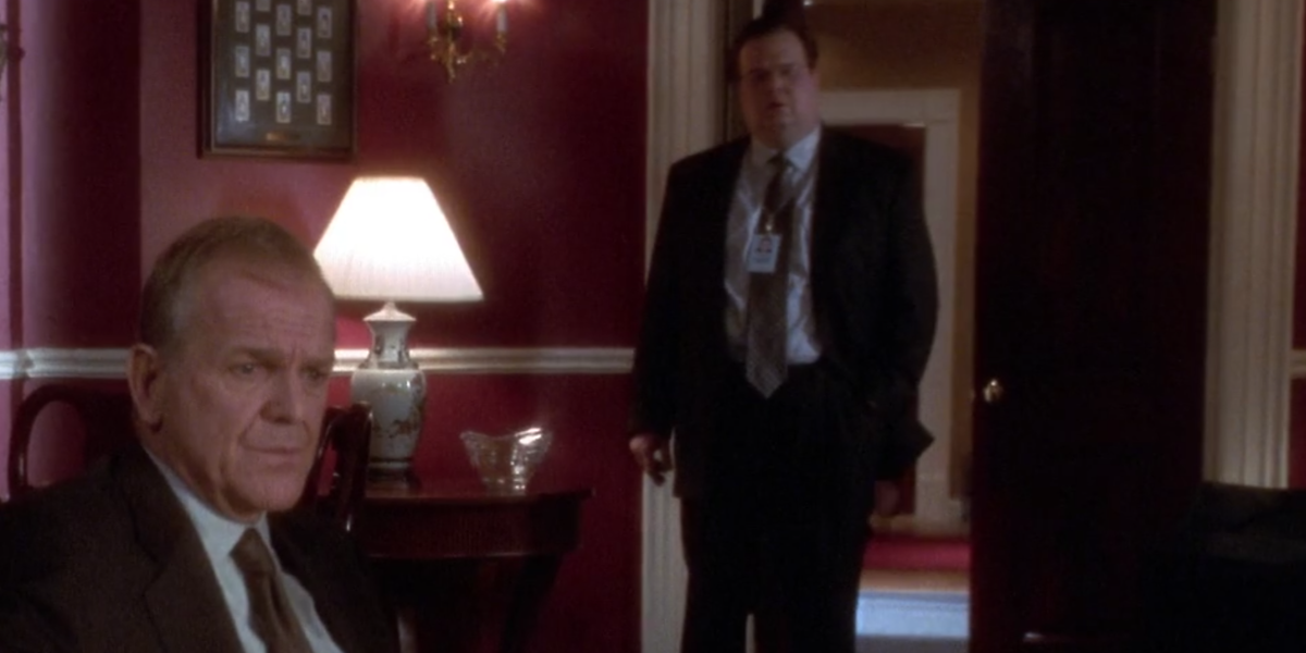 The West Wing Eric Stonestreet interrupts meeting with Leo McGarry White House counsel