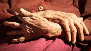 Close-up image of the hands of a centenarian.