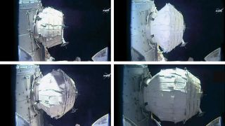 The inflation of the Bigelow Expandable Activity Module, a prototype space habitat, is shown in this series of images taken by a NASA camera on the International Space Station during expansion operations on May 28, 2016.