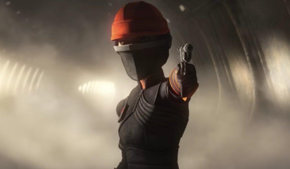 Fennec Shand pointing a gun in Star Wars: The Bad Batch Disney+