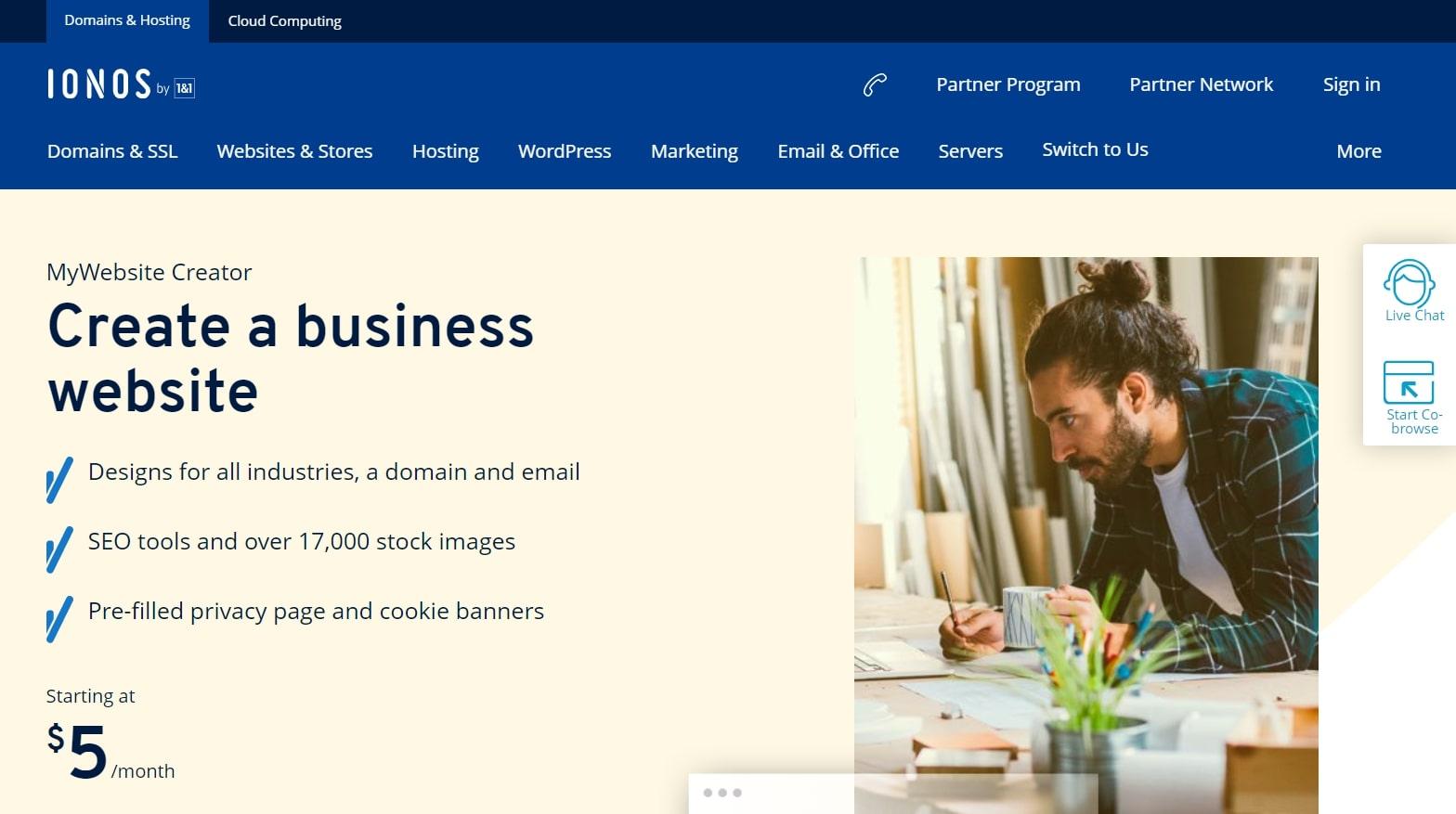 1&1 IONOS MyWebsite's homepage