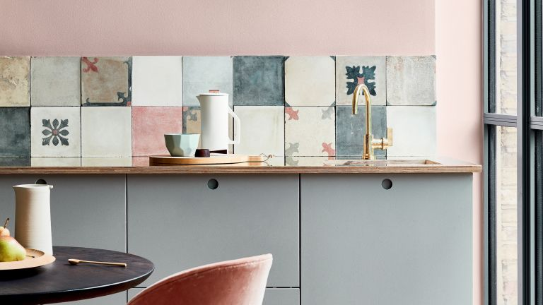 Pink and gray kitchen designed by Little Greene
