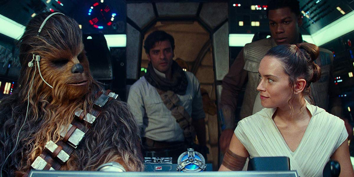 Chewbacca, Poe Dameron, Finn and Rey in Star Wars: Rise of Skywalker