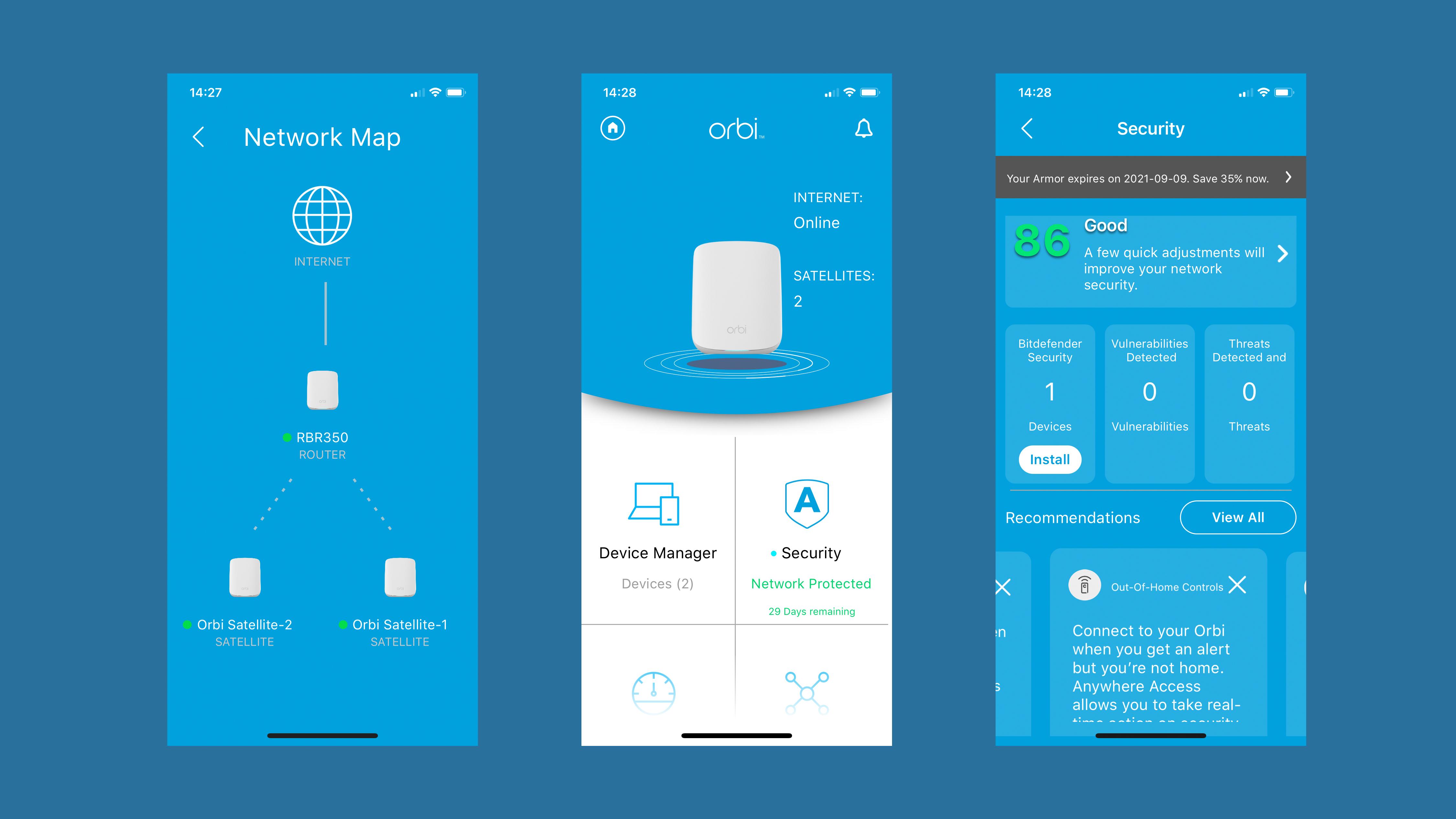 Netgear Orbi RBK353 app screenshots
