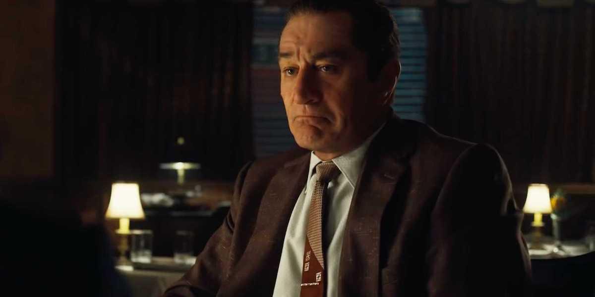 Robert De Niro as de-aged Frank Sheeran in The Irishman