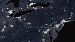 The northeast U.S. at night, as seen from space.