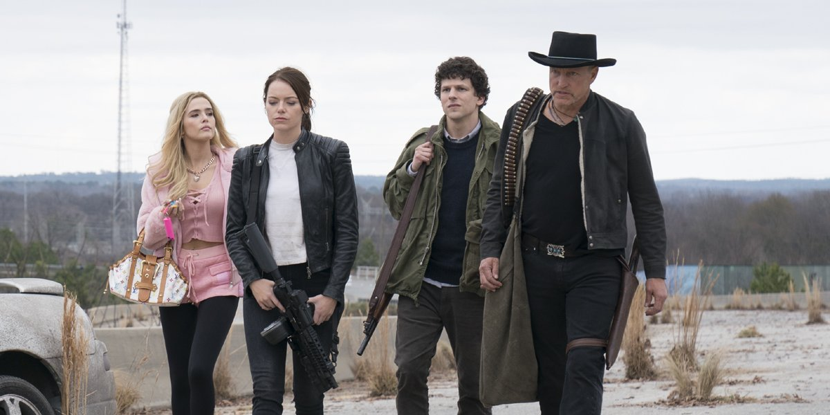 Zoey Deutch Emma Stone Jesse Eisenberg and Woody Harrelson in ZOmbieland Double Tap