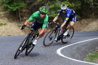Mark Cavendish (Deceuninck-QuickStep) rides in the Pyrenees during stage 15 of the Tour de France