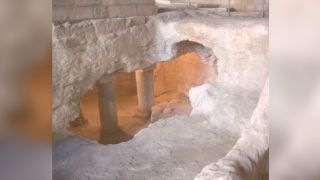 Archaeologists examined these rock-cut features under the Church of the Annunciation in Nazareth.