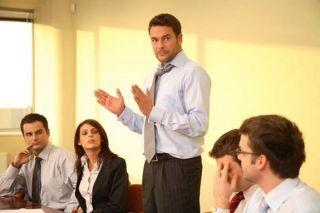 businessman giving a talk