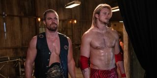 stephen amell's jack spade and alexander ludwig's ace spade in starz's heels