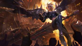 Artwork of Kayle from League of Legends in her Pentakill skin.