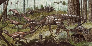 The predatory dinosaur <em>Tachiraptor admirabilis</em>, unearthed in Venezuela, attacking the herbivorous dinosaur <em>Laquintasaura</em>.