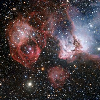 Stellar Explosion and Glowing Gas in Large Magellanic Cloud