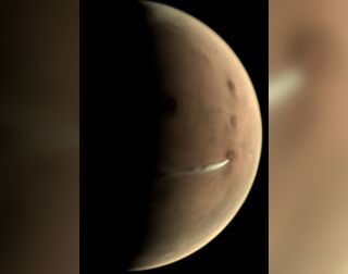 A camera aboard Mars Express captured this image of a lee cloud above Arsia Mons on Mars, on Oct. 10, 2018.
