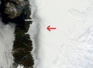 Satellite images reveal the dark zone of the Greenland ice sheet, which is leading to a positive feedback effect where melt begets melt.