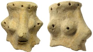 This head excavated recently by archaeologists at the site of Khirbet Qeiyafa in Israel may depict Yahweh.