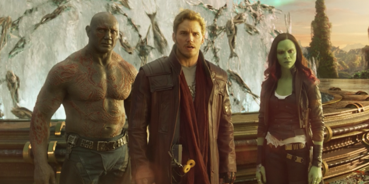 Drax, Star-Lord, and Gamora in Guardians 2