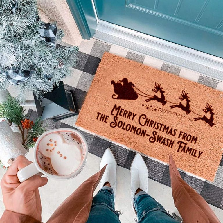Personalised Santa's Sleigh Family Door Mat for Christmas