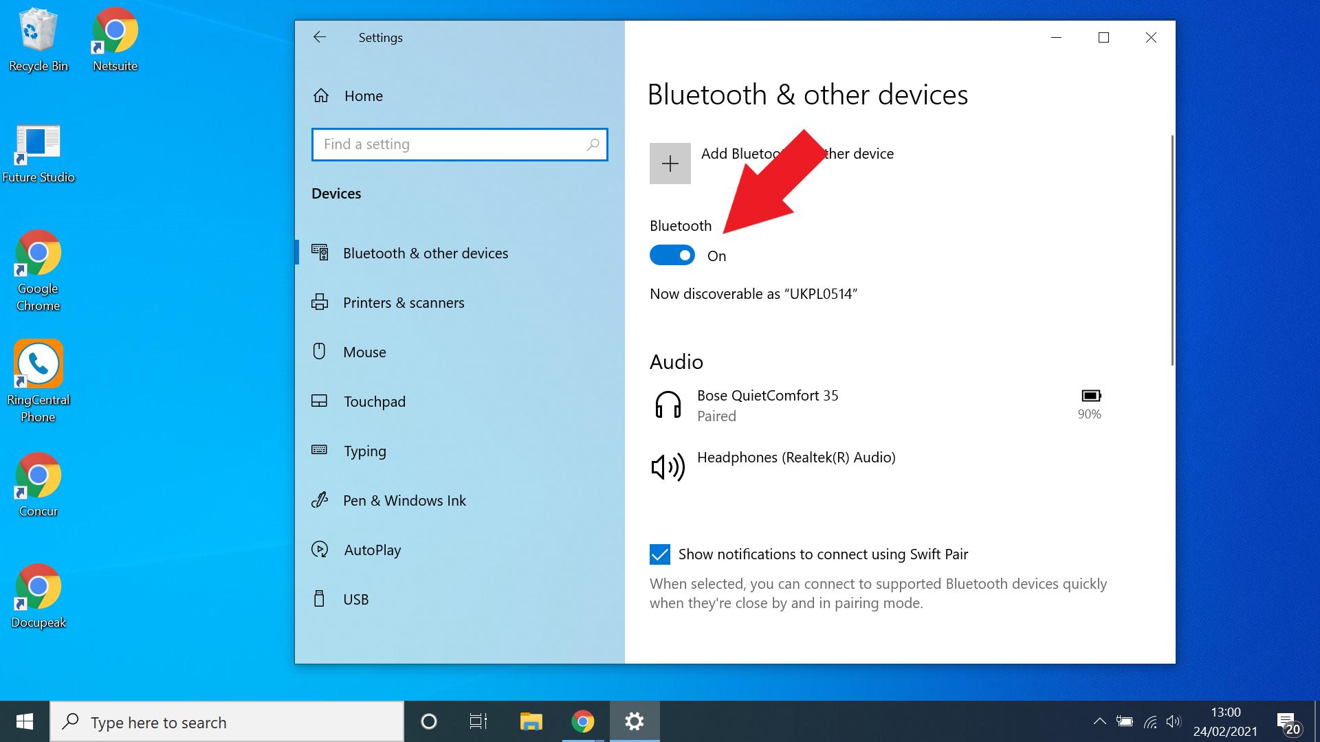 cara mengaktifkan bluetooth untuk windows 10 - aktifkan bluetooth dari menu