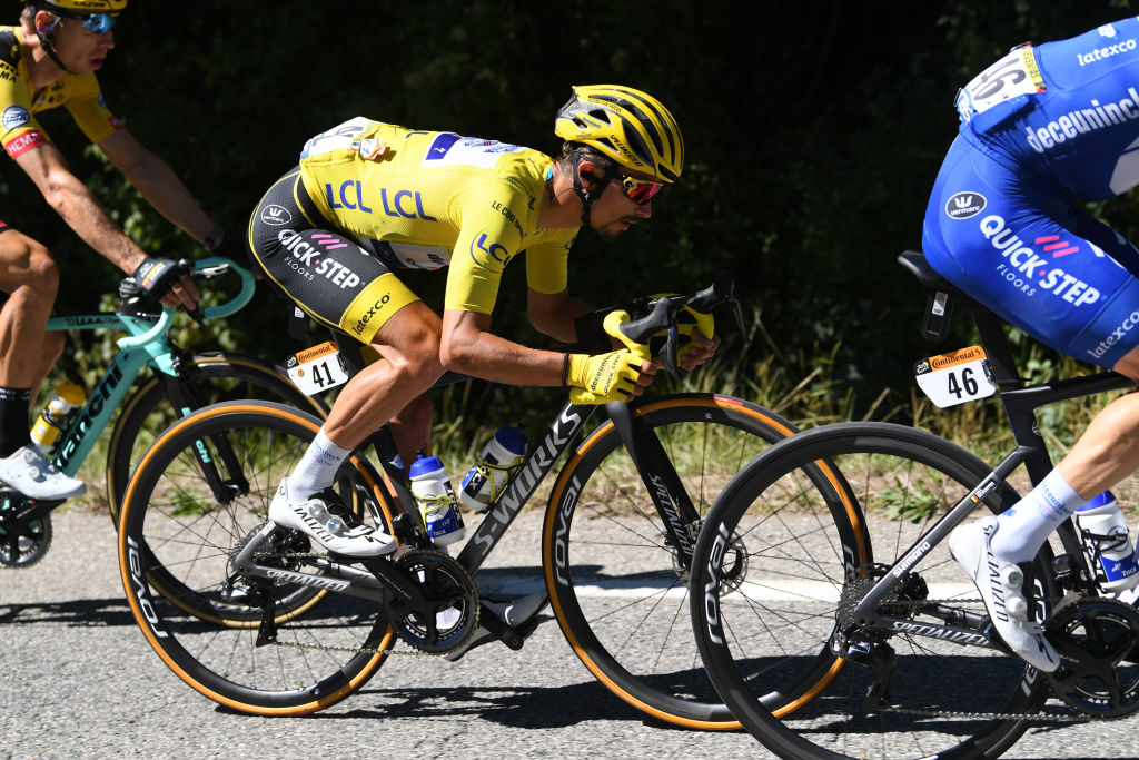 ORCIERES FRANCE SEPTEMBER 01 Julian Alaphilippe of France and Team Deceuninck QuickStep Yellow Leader Jersey during the 107th Tour de France 2020 Stage 4 a 1605km stage from Sisteron to OrcieresMerlette 1825m TDF2020 LeTour on September 01 2020 in Orcieres France Photo by Tim de WaeleGetty Images
