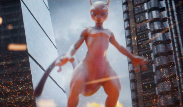 Detective Pikachu Mewtwo hovering in the embers