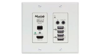 MuxLab has begun shipping the new HDMI/USB over IP PoE Wall Plate Receiver, UHD-4K (model 500777-RX-WH).