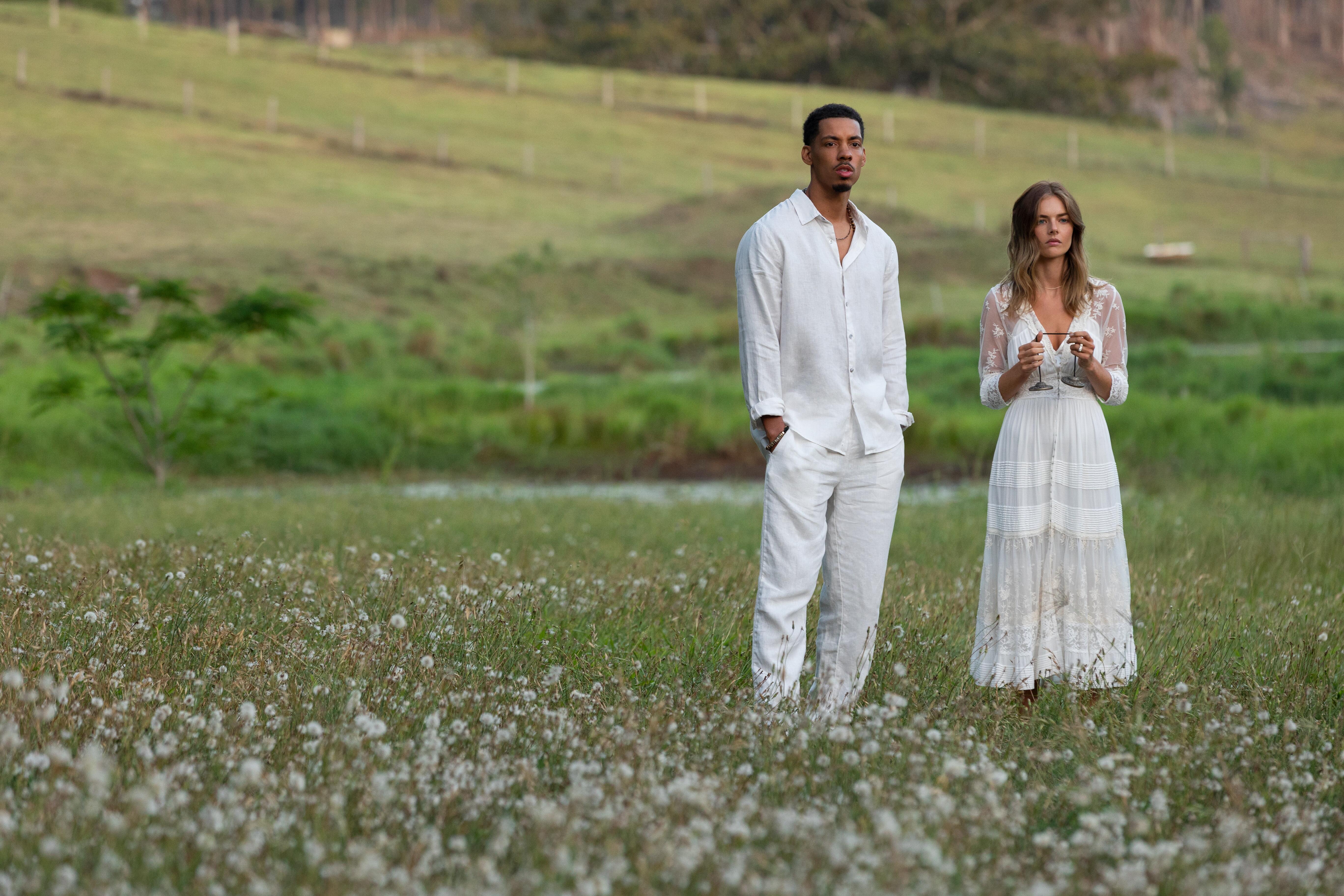 Melvin Gregg and Samara Weaving in Nine Perfect Strangers