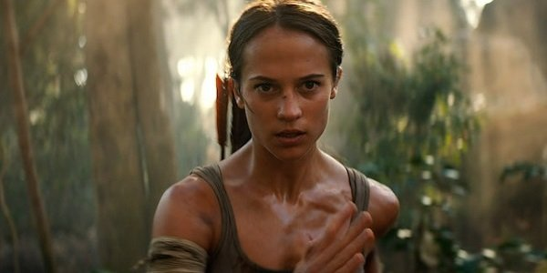 Tomb Raider Lara Croft Alicia Vikander charging towards the screen