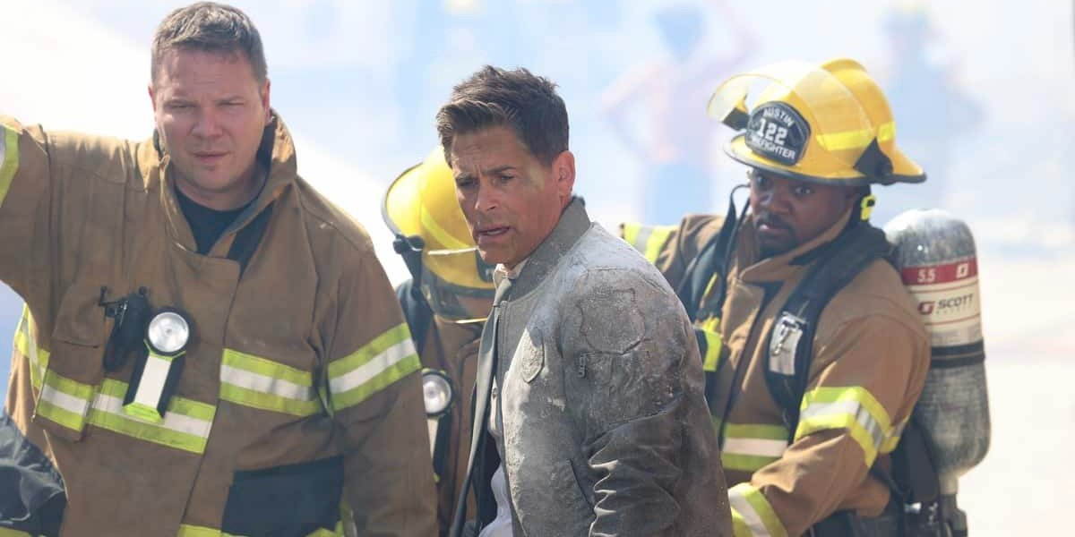 Jim Parrack as Judd Ryder, Rob Lowe as Owen Strand and Brian Michael Smith as Paul Strickland in 9-1-1: Lone Star.