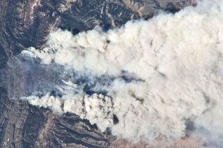 Astronaut photograph of Wyoming's Fontenelle Fire.