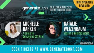An image promoting Generate CSS and announcing Michelle Barker and Natalie Weizenbaum as speakers.