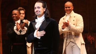 "Lin-Manuel Miranda (center), the creator of ""Hamilton"" who also starred as the musical's original Alexander Hamilton, used a little creative license on some of the show's historical content."