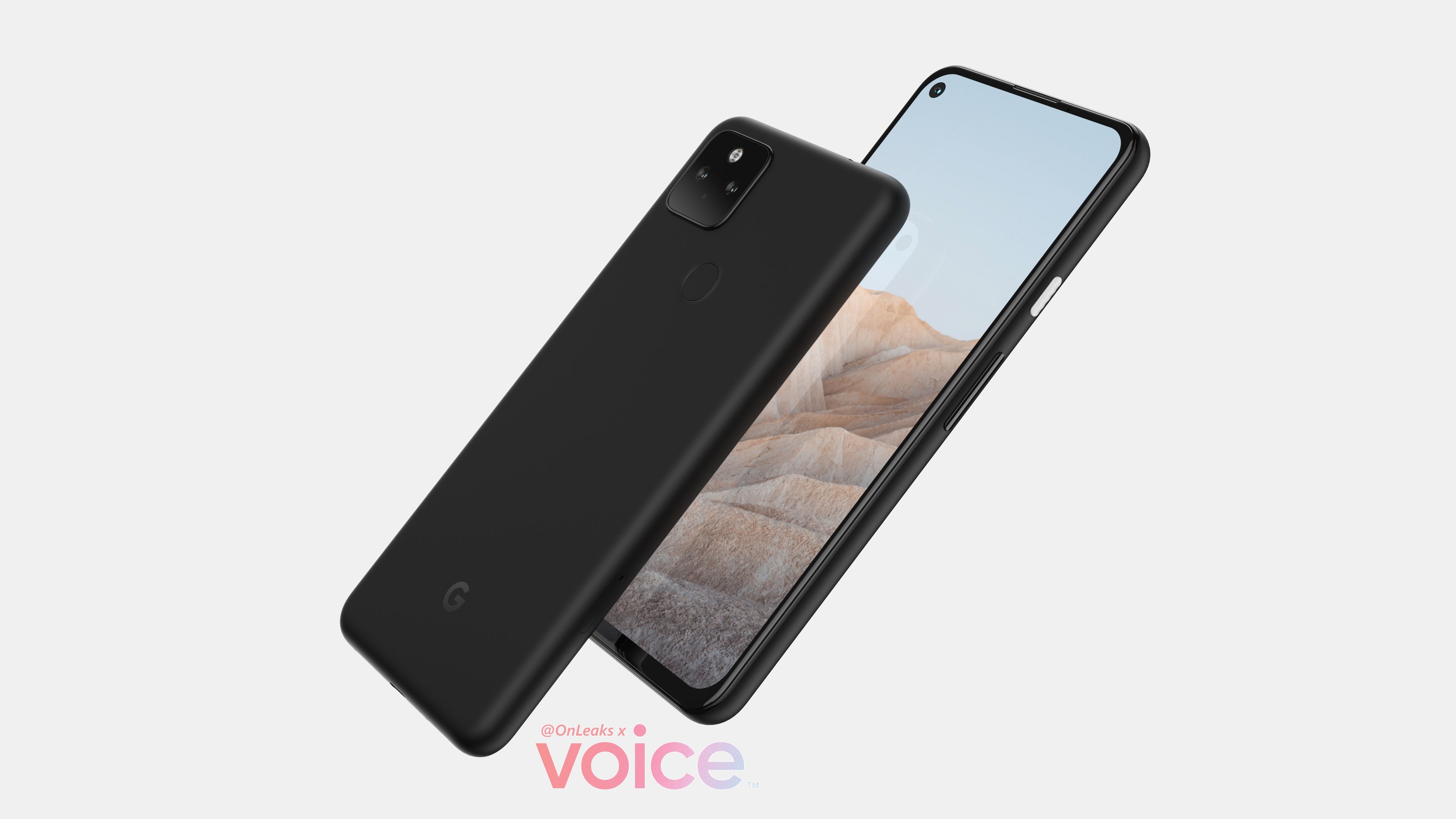 Google Pixel 5a front and back pointing diagonally upwards