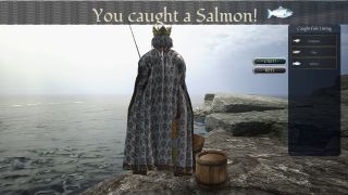 A king stands by a lake, fishing. He has caught a salmon.