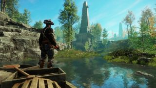 A screenshot of a character fishing in New World.