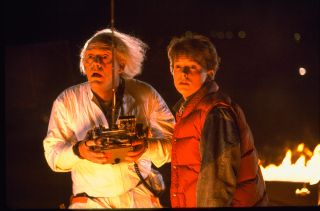 Christopher Lloyd and Michael J. Fox star as Doc Brown and Marty McFly in Robert Zemeckis' 'Back to the Future'.