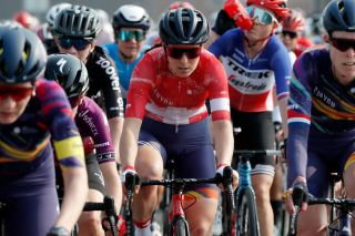 MUR DE HUY BELGIUM APRIL 21 Elise Chabbey of Switzerland and Team Canyon SRAM Racing during the 24th La Fleche Wallonne 2021 Women Elite a 1302km race from Huy to Mur de Huy 204m FlecheWallonne FWwomen UCIWWT on April 21 2021 in Mur de Huy Belgium Photo by Bas CzerwinskiGetty Images
