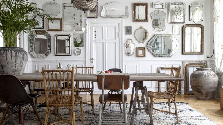Wall panels: danish dining room with mirror gallery wall
