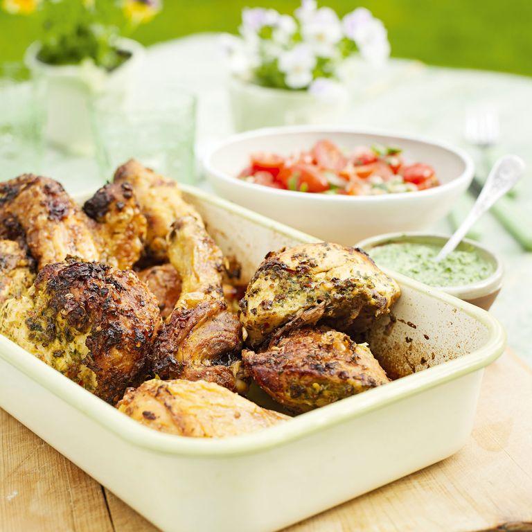 Grilled Coriander Chicken with Coriander and Mint Chutney